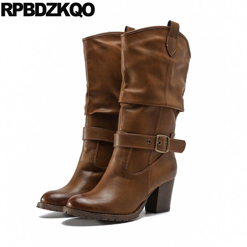 أحذية رعاة البقر النسائية ذات الكعب العالي ، 2021 ، أحذية بمقدمة مستديرة ، نصف ربلة ، أحذية غربية سميكة عتيقة ، أحذية رعاة البقر البني للنساء ، ...