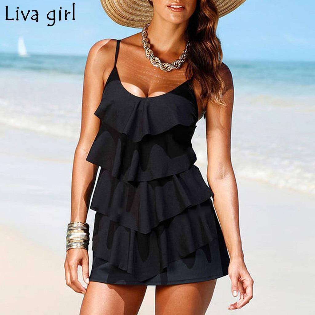 Liva girl Black Tankini  One-Piece Suits V-neck Bandage Padded Brazilian Swimsuit hot Set Beach Monokini Bathing Swimwear Bikini