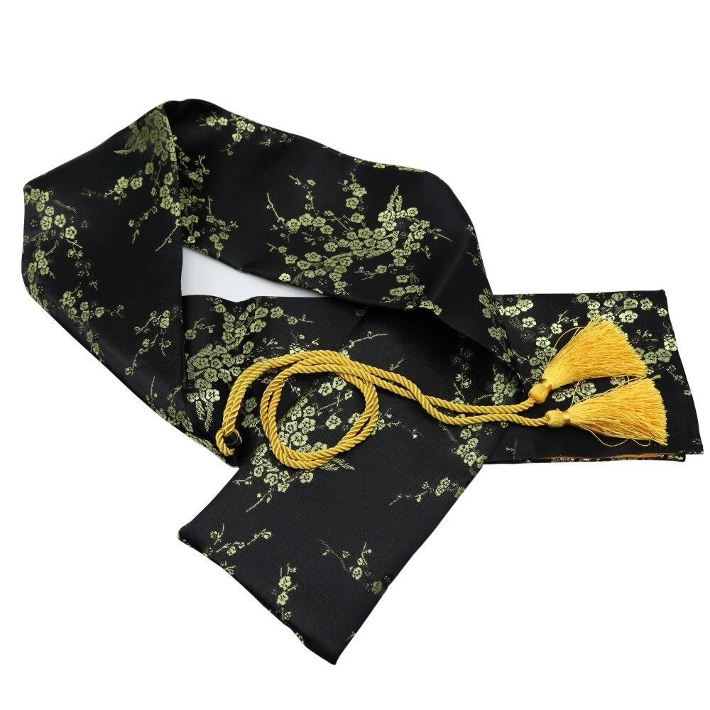 "51 ""seda ciruela flor Katana Wakizashi Tanto japonés samurái espada bolsa negro con borla de gran tamaño"