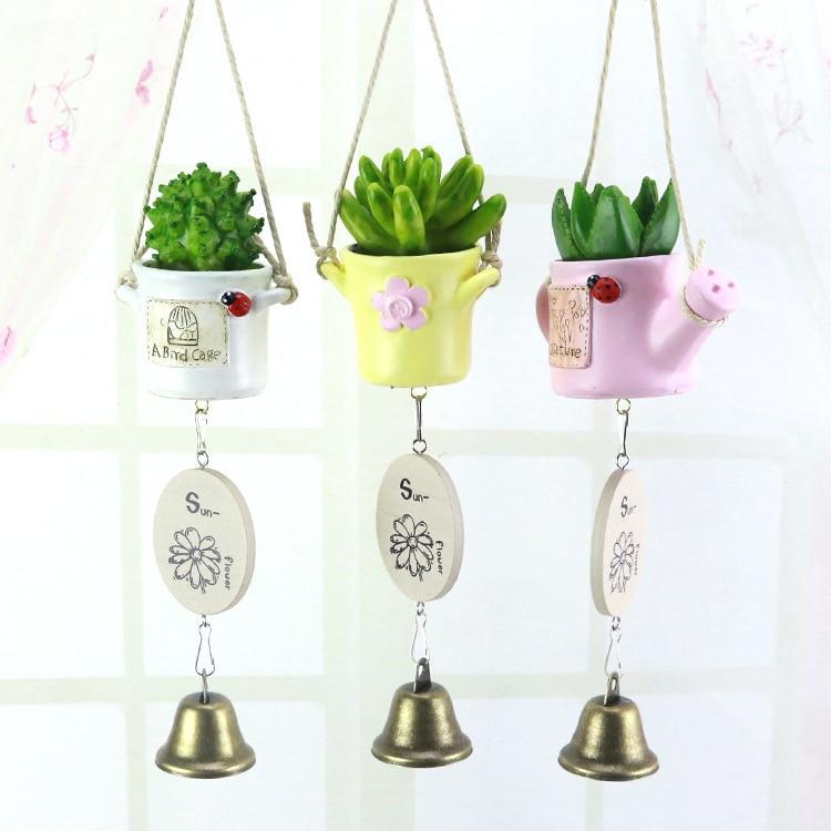 Simulación de carillones de viento en maceta estilo Pastoral, adornos colgantes, artesanías de resina, decoración de regalo