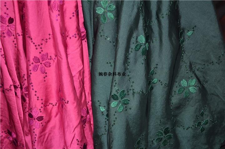 Envío Gratis tela de satén cambric bordada con lentejuelas precio para 1 metro 145cm de ancho