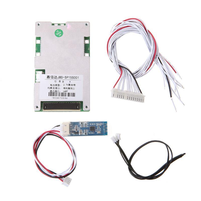 Placa protectora de batería de litio 13 S, polímero BMS 30A con interfaz UART inteligente Bluetooth, interfaz eléctrica estática Flexible