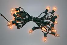 Cordon lumineux C7 Type incandescence câble en laiton   Vert ou blanc, 20 prises avec 20 pièces ampoule fusionné, raccord bout à fin