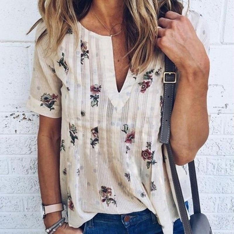 Women Blouse Floral V-Neck Short Sleeve Tops Plus Size 2018 Summer Fashion Women Casual Loose Shirt blusas feminine Female