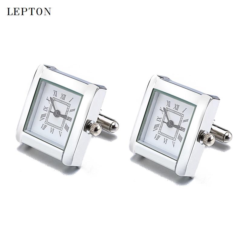 Low-key de batería Digital mancuernillas con forma de reloj para hombres Lepton reloj gemelos para hombre joyería Relojes gemelos