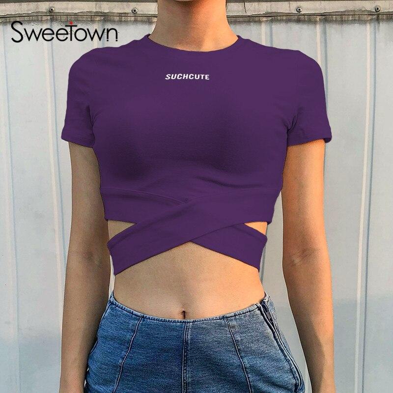 Sweetown branco colheita topo t camisa feminina 2018 verão preto tshirt femme roxo criss-cruz oco para fora das mulheres t camisa topos