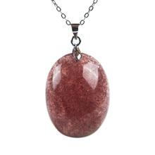 Genuine Natural Strawberry Quartz Crystal Transparent Stone Round Bead Necklace Pendant
