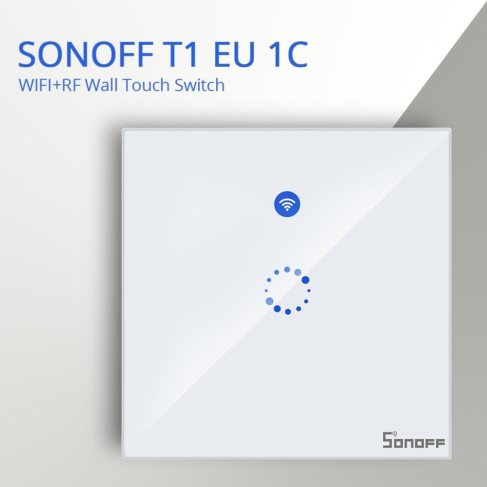 SONOFF T1 UE Reino Unido 1/2/3/banda 433 RF control remoto inalámbrico Wifi Led táctil de vidrio de Panel de pared interruptor de luz hogar inteligente Alexa Google asistente