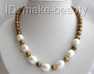 classic big 7-8mm baroque white coffee round freshwater pearl necklace d685
