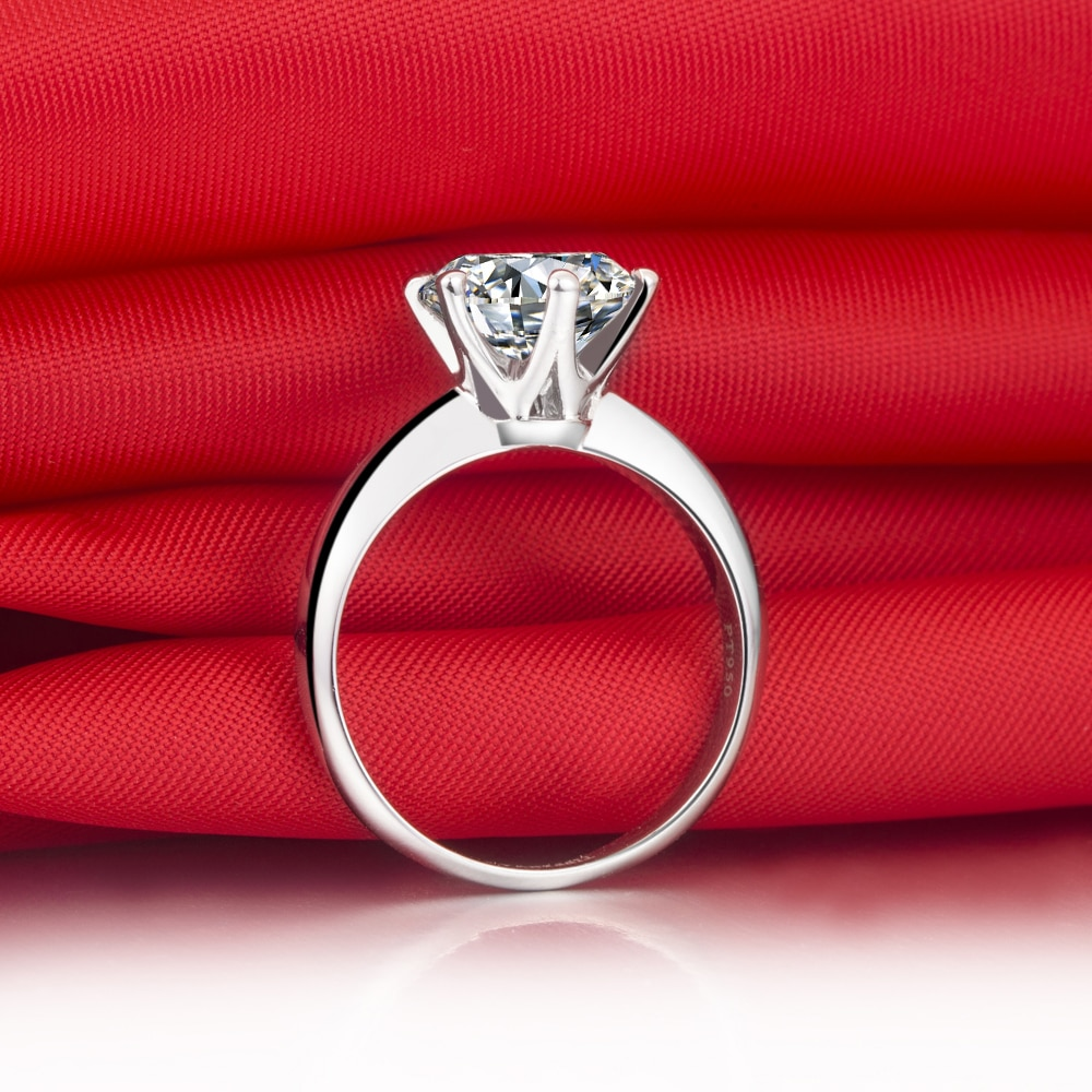 2 Carat Real Moissanite Engagement Ring Pure 14K White Gold Promise Wedding Anniversary Day Jewelry