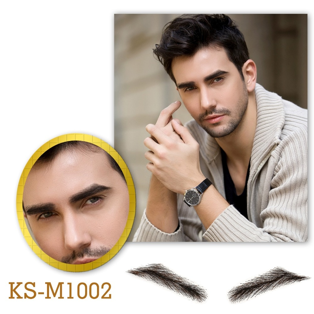 salonchat hand tied false lace eyebrows 100% human hair eyebrows human hair invisible handmade fake eyebrows for women man Neitsi Man's One Pair Fake Eyebrows 100% Human Hair Fake Eyebrows Lace Base M1002