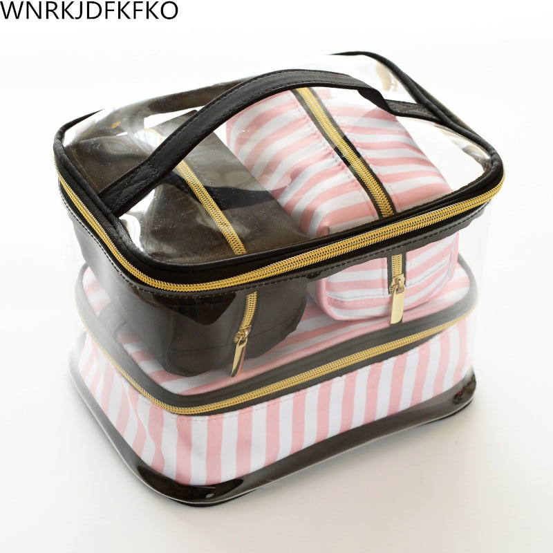 Transparent PVC Cosmetic Bag Travel Toilet Bag Four-Piece Portable Multifunction Set Pink Makeup Org
