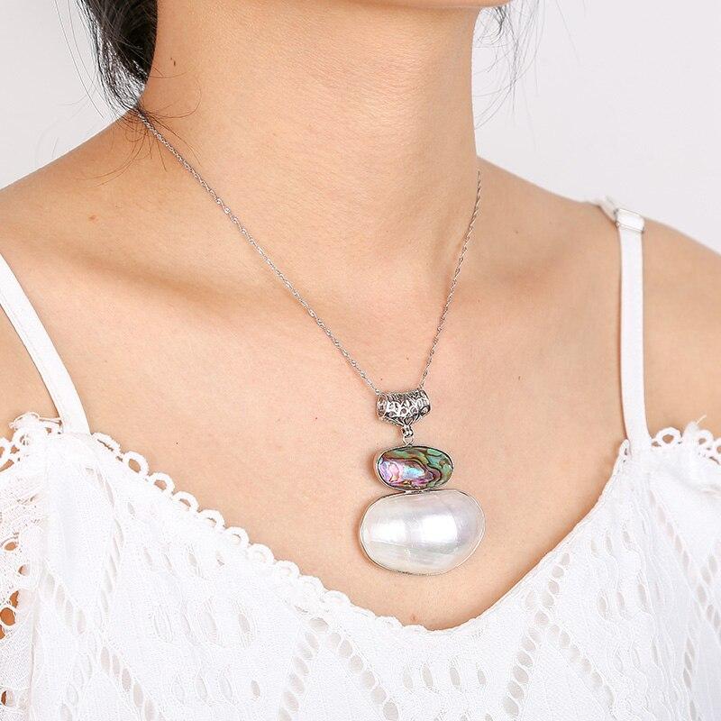 Colgante de nacklace de moda, colgante de concha de abulón natural de estilo overstate, tamaño grande, regalo único, adornos brillantes