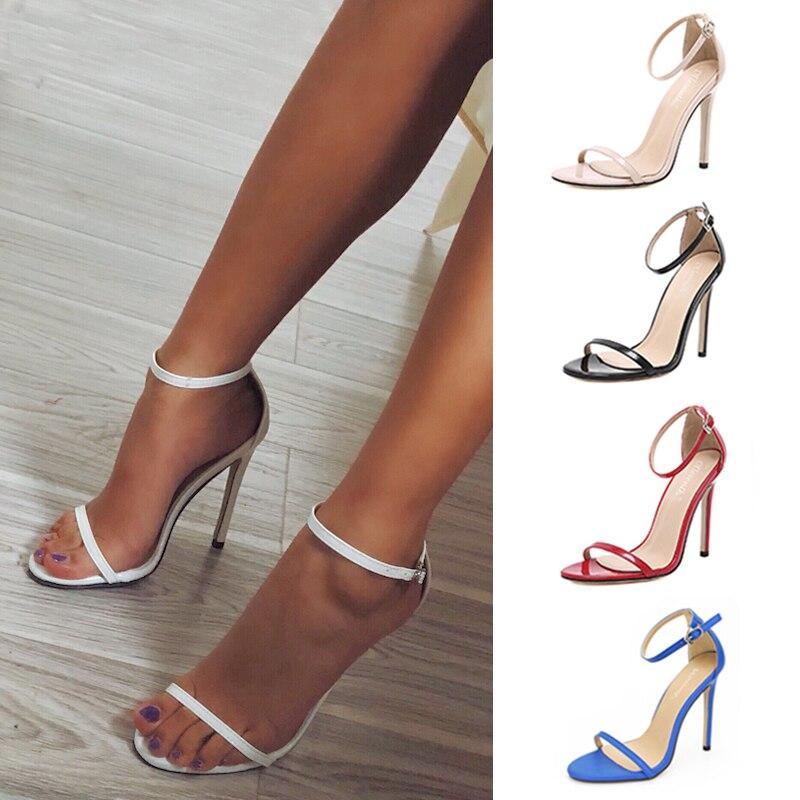 Nuevos zapatos de tacón alto de verano para mujer, zapatos cómodos para mujer, sandalias con hebilla para mujer, zapatos sexis de fiesta, zapatos de tacón para mujer de talla grande 43