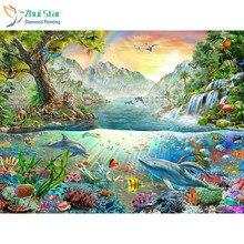 Zhui Star 5D bricolage carré complet forage diamant peinture point de croix dauphin et arc-en-ciel strass broderie mosaïque décor cadeau
