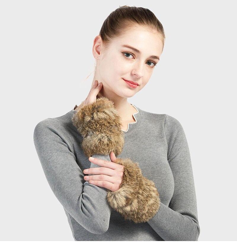 Pudi GF704 Hand Made knitted Fur Fabric rabbit Fur Glove Gloves mittens mit handwear