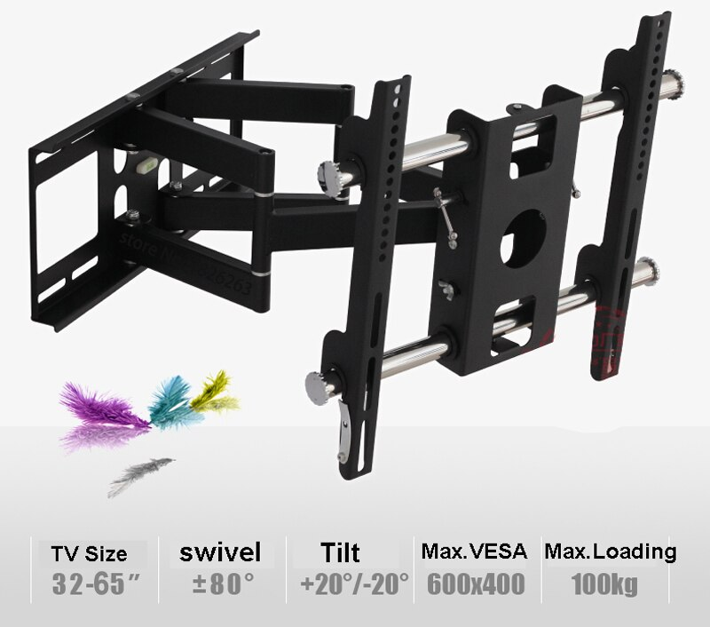 "Super calidad movimiento completo de 32 ""-65"" LED LCD Pared de TV montaje Swing brazo con Anti-robo de bloqueo de carga 100kgs inclinación giratorio VESA 600*400mm"