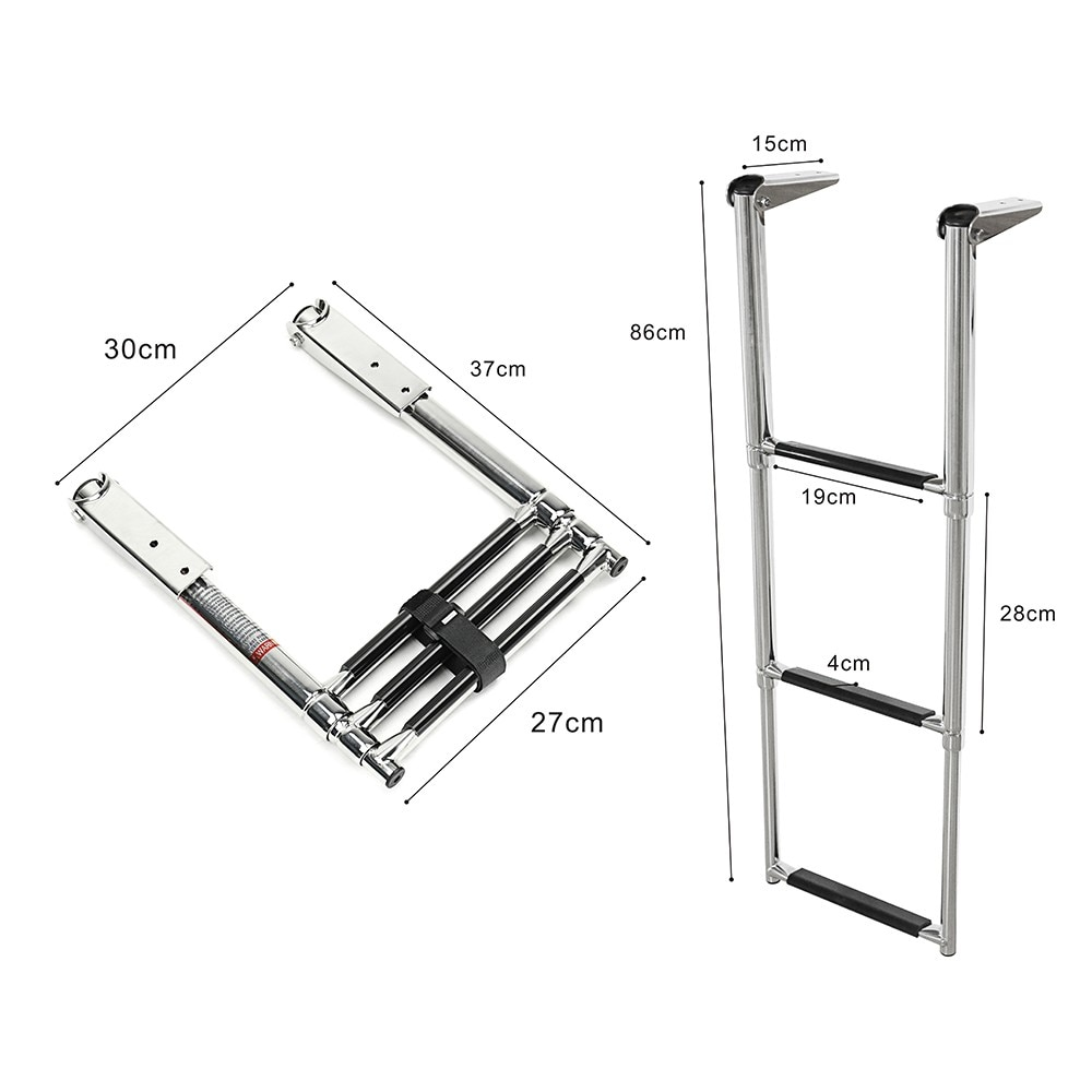 (shipment from Italy)3 step stainless steel marine boat ladder yacht polished steel telescope ladder enlarge