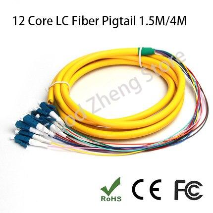 12 Core LC/UPC 1,5 M/4M de modo único cable en espiral LC de fibra óptica Pigtai