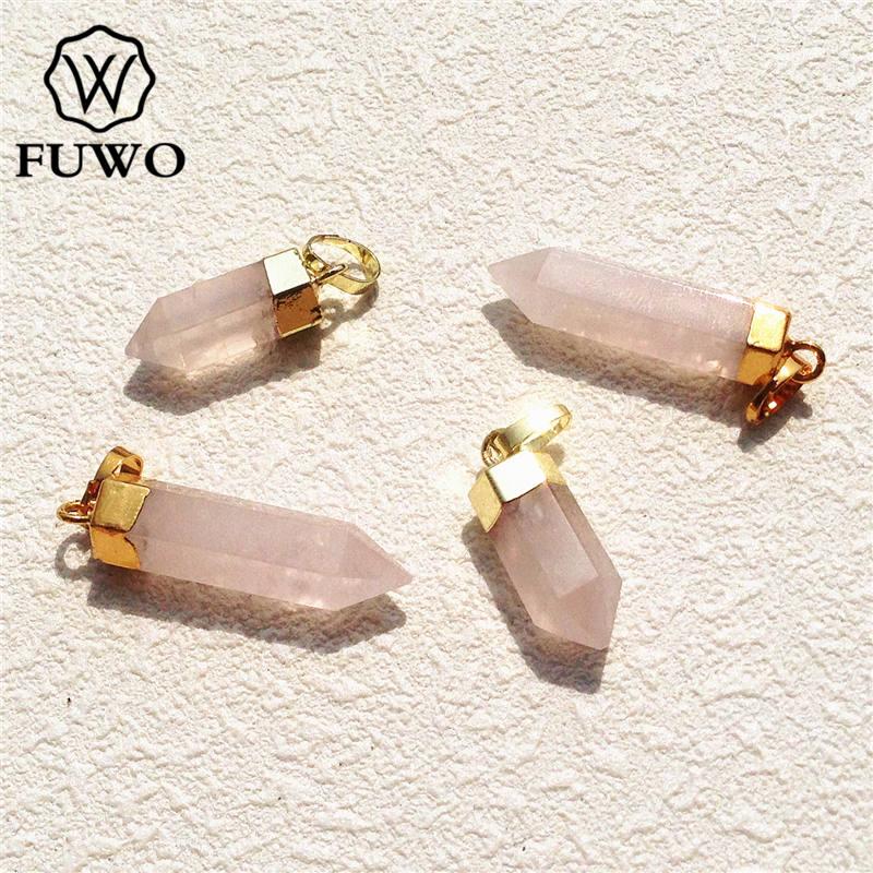 FUWO روز Quartzs نقطة قلادة 24K الذهب مطلي عالية الجودة سبايك شكل الخام الوردي الكريستال عصا مجوهرات الجملة PD119