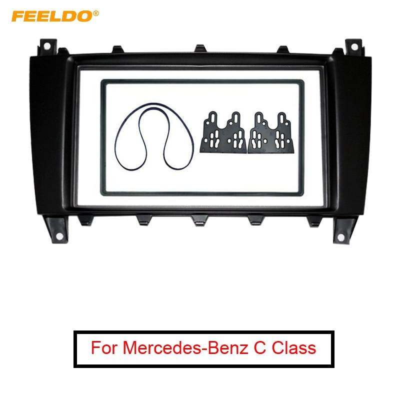 FEELDO Car 2Din DVD/CD Radio Placa de salpicadero para Radio marco adaptador Kit de ajuste para mercedes-benz Clase C instalar Tirm # MX4400