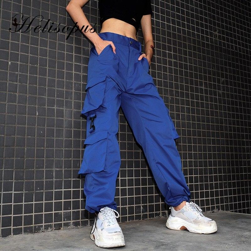 Женские брюки-карго Helisopus, синие свободные брюки-карго с высокой талией и несколькими карманами, уличная одежда, Новинка осени 2020