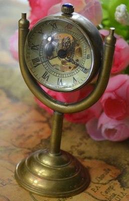 Venta al por mayor global globe mecánico fob reloj buena calidad hombre relojes de bolsillo vintage de bronce de pie bola de vidrio de latón