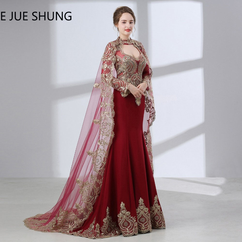 E JUE SHUNG Burdeos árabe sirena vestidos de noche con 2019 capa manga larga noche de lujo de vestidos Dubai Kaftan traje longue