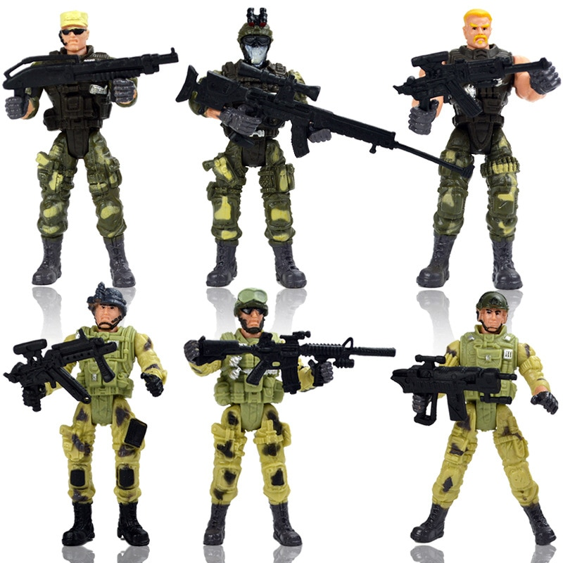 SWAT Military man Command Mini Figures Action Modern Army Combat Game Figures Model Toys Military Plastic Soldiers Children gift 100pcs high soldier model military sandbox game plastic toy soldier army men figures for children s toy dolls gift