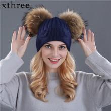 Xthree chapeau dhiver pour femmes   Bonnets en laine, bonnets en tricot, fourrure naturelle, double pom poms, Skullies, chapeau pour filles, feminino