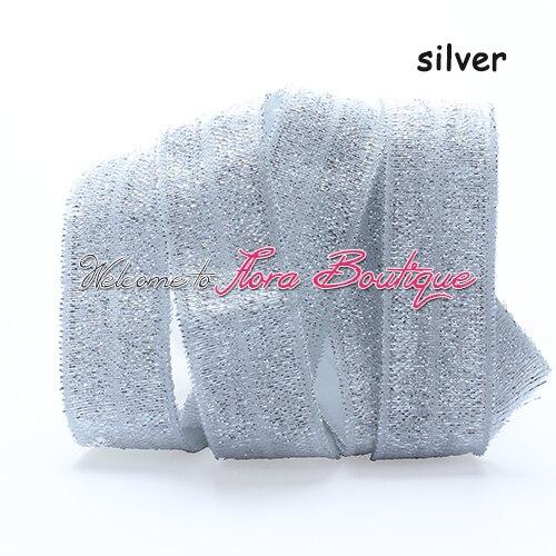 Venda quente de prata fio brilho dobre elástico para a menina acessórios de cabelo, 100 jardas/lote metálico foe