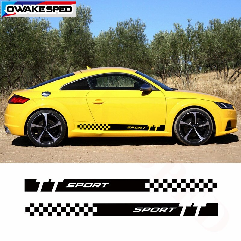 Car Stickers Door Side Skirt Sticker For Audi TT TTRS TTS Automobiles Customized Vinyl Decals Sport Stripes Auto Accessories