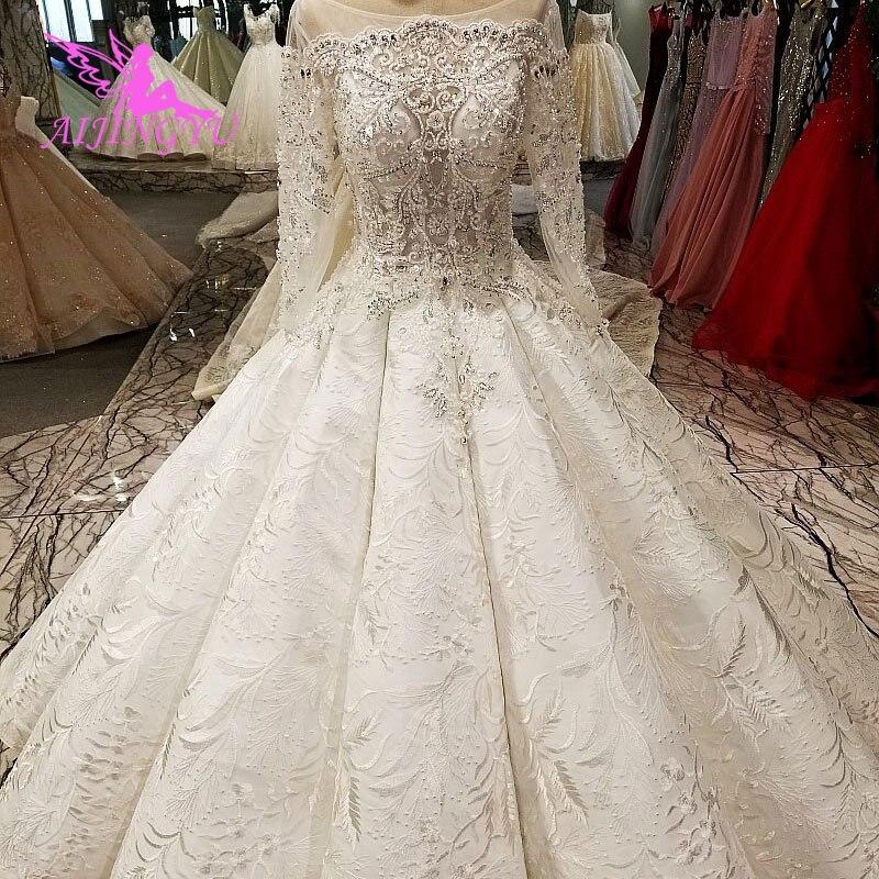 AIJINGYU destino vestido de novia venta al por mayor, vestidos de blanco puro traje de tren de Suzhou vestido perfecto estrellas vestidos de boda