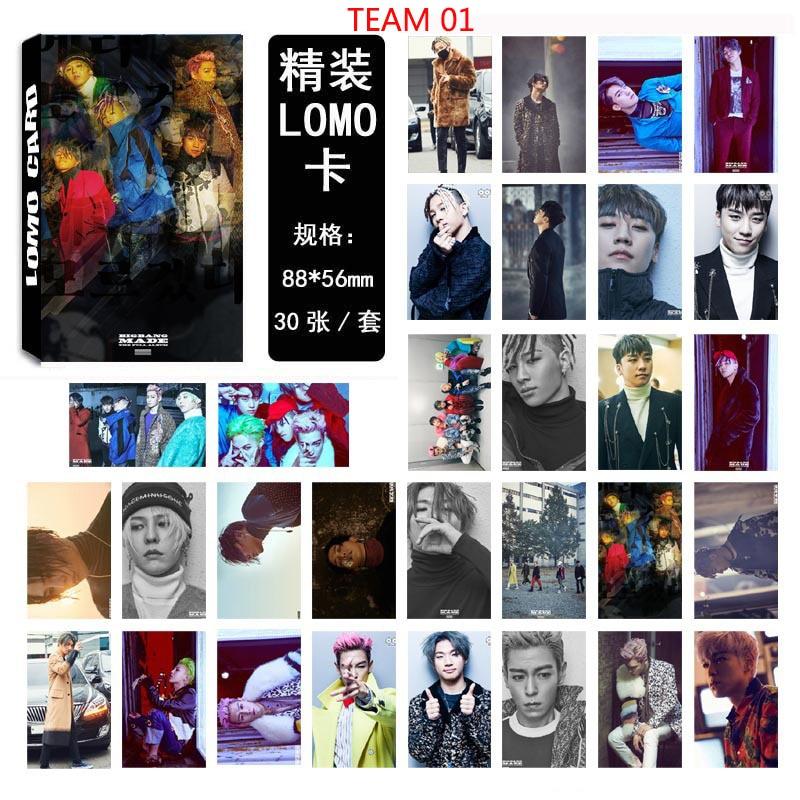 BIGBANG Team TOP GD estilo 30 piezas de cada caja de tarjetas de LOMO casera pequeña C