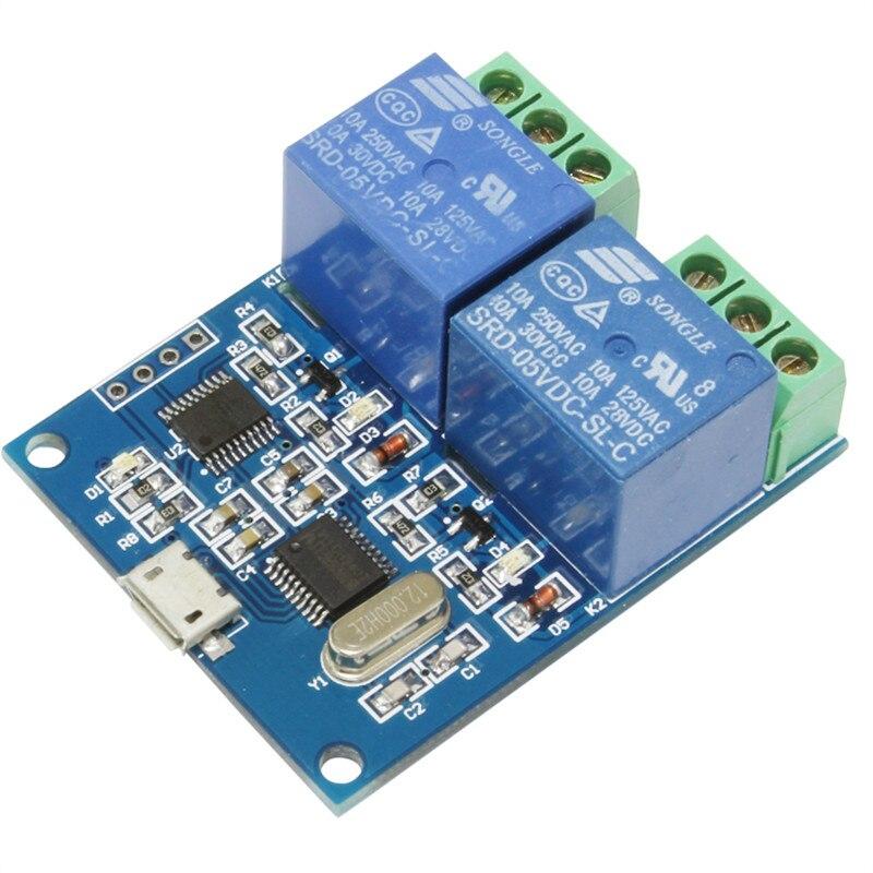 Módulo de relé USB de 2 canales tipo LCUS-2 interruptor de Control inteligente USB