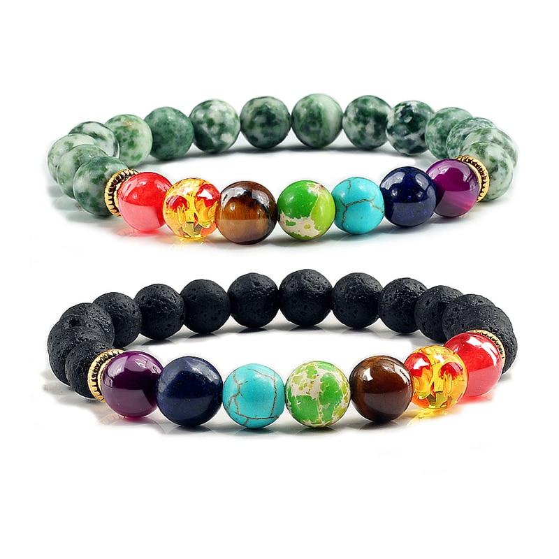 Charm Men Chakra Bracelets Women Jewelry Lava Stone Green Agates Spotted bead Quartz Bangles Elastic Bracelet Female Accessories