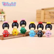 6pcs Newest Cute Japanese Kimono Girl Kawaii  Personage Toy Model Miniature Figurine baby gift home decoration PVC craft