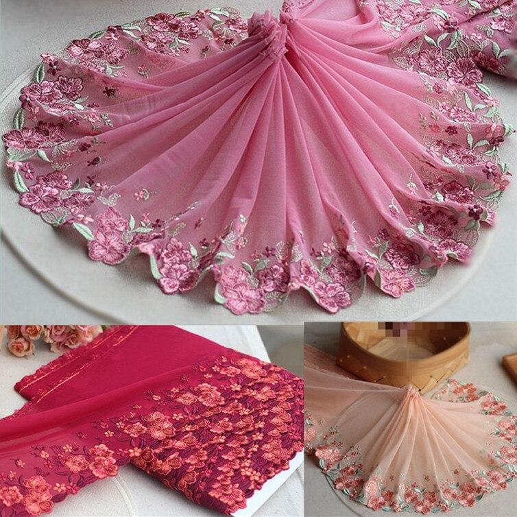 Эластичная кружевная отделка из тюля с цветочной вышивкой, 9 дюймов, 23 см (3 ярда в партии)