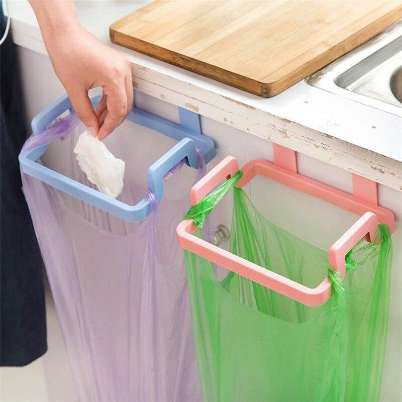 Bolsa portátil de plástico PP para colgar basura, bolsa de almacenamiento de basura de cocina, gancho, almohadilla para fregar, soporte para estante seco, organizador de cocina