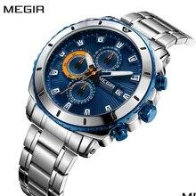 MEGIR chronographe montre pour hommes hommes marque de luxe en acier inoxydable Sport hommes montres de mode homme horloge Relogio Masculino
