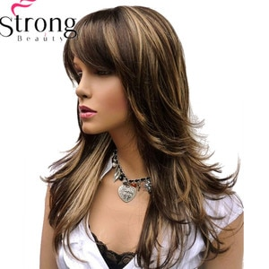 StrongBeauty Long Layered Brown Highlights Classic Cap Full Synthetic Wig Women's Wigs