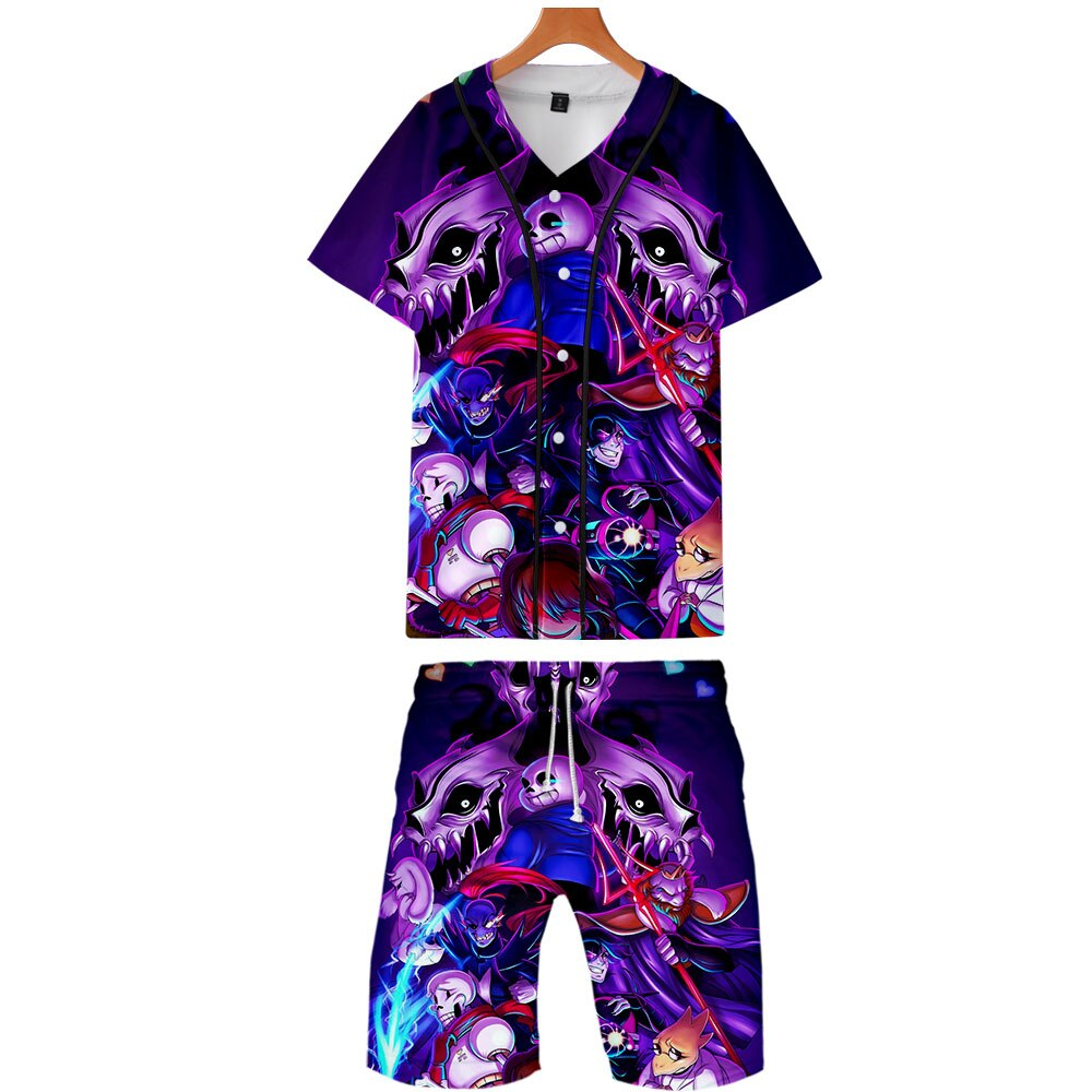 2019 camisa hawaiana Harajuku divertido Undertale Video juego diseño Sans patrón 3D impresión hombres conjuntos verano Casual ropa de playa