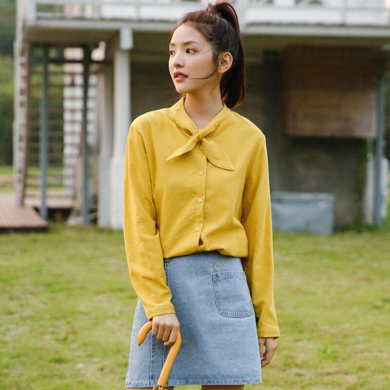 Для женщин рубашки леди Kawaii Винтаж сладкий Вельветовая рубашка с длинными