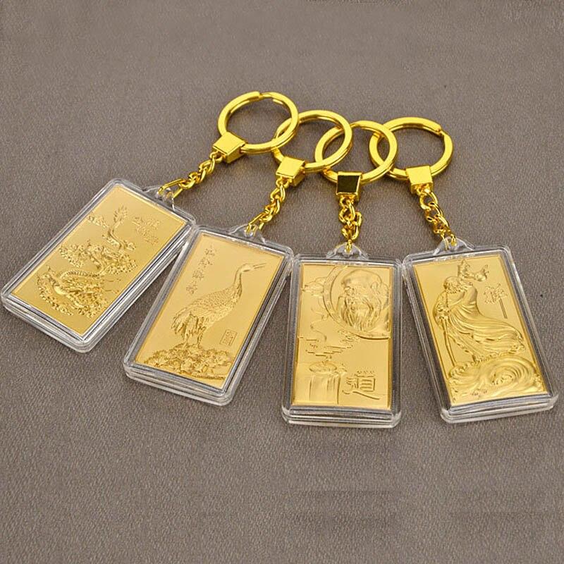 Asklove 3d ouro fivela chave 24k folha de ouro presentes festa luxo chaveiros enviar amigos colegas presentes decoração feliz pingente