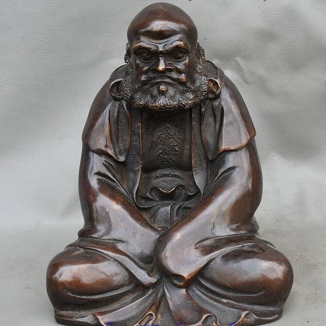 Китайский, буддистский, бронзовый воин монахи Arhat Damo Bodhidharma Dharma статуя Будды