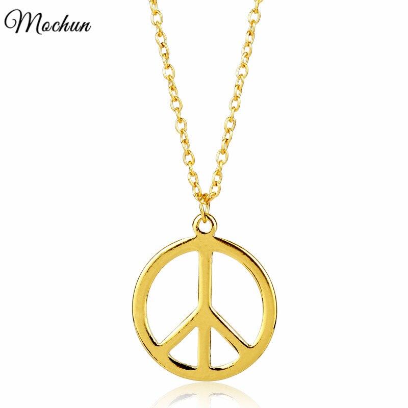 Mqchun ouro cor sinal de paz logotipo charme gargantilha colar moda elegante pingente com link chain