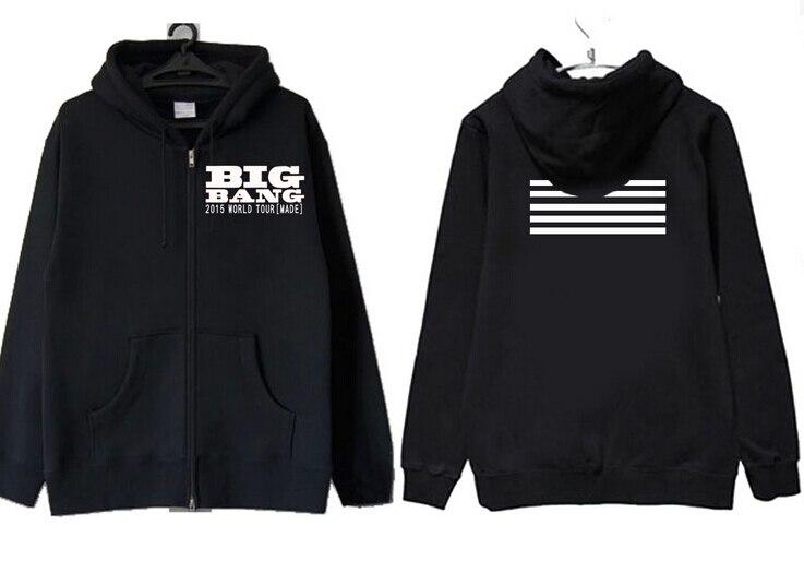 Moda kpop bigbang concierto hecho rayas impresión sudaderas para vips otoño con capucha negro cremallera chaqueta prendas de vestir