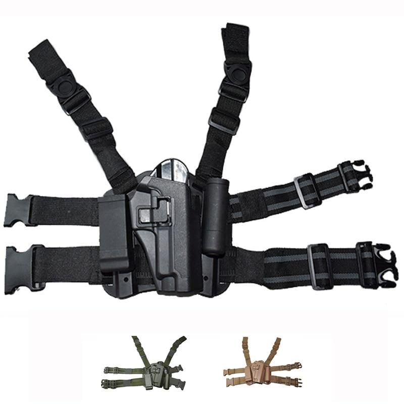 Tactical Leg Thigh Holster W/ Magazine & Flashlight Pouch For Sig Sauer P226 Gun Holster Right Hand Quick Drop Tactical Holster