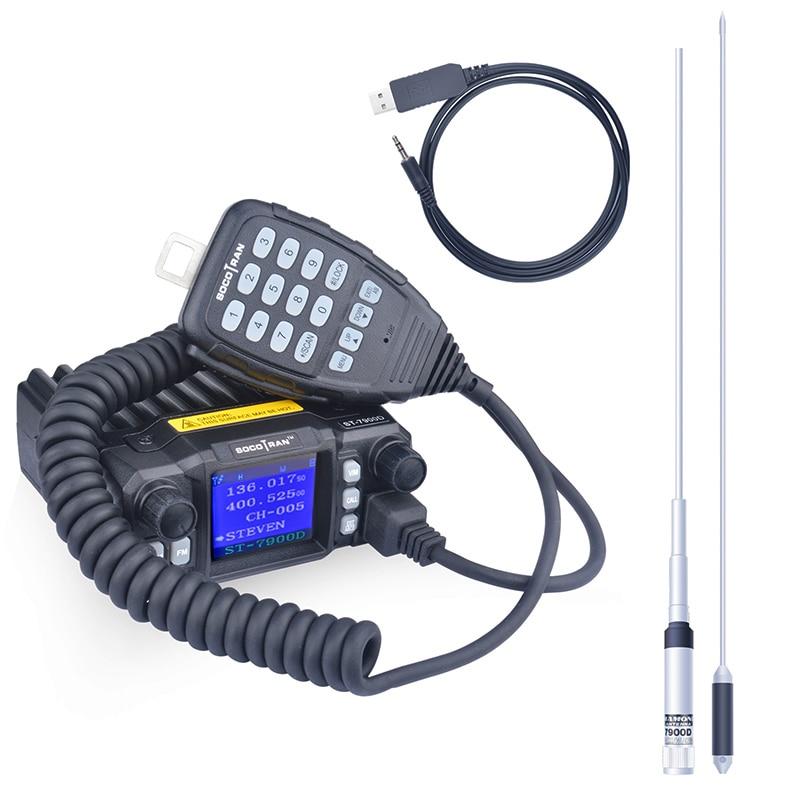 SOCOTRAN ST-7900D Quad Band 25W 136-174MHz 220-270MHz 350-390MHz 400-480MHz мобильное радио с бесплатным кабелем программирования и антенной
