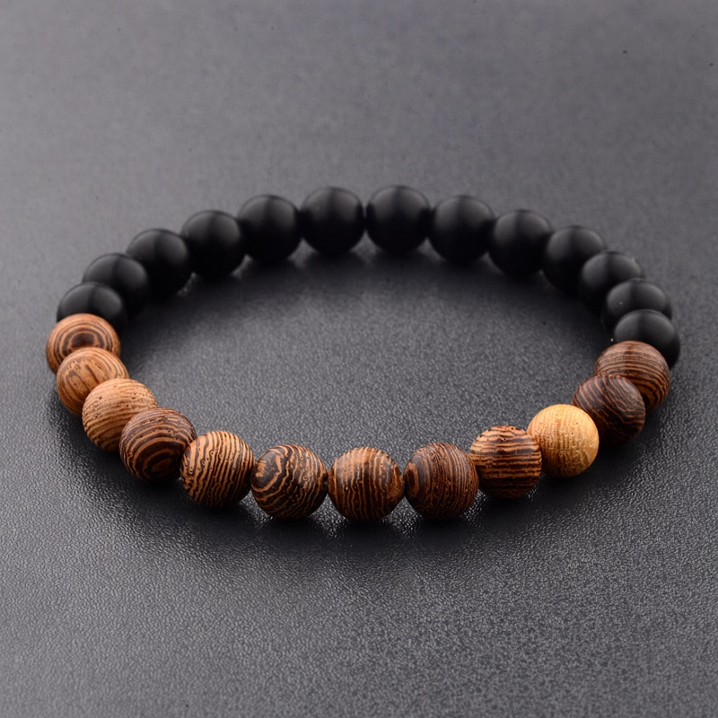 8mm New Natural Wood Beads Bracelets Men Black Ethinc Meditation White Bracelet Women Prayer Jewelry Yoga Bracelet Homme